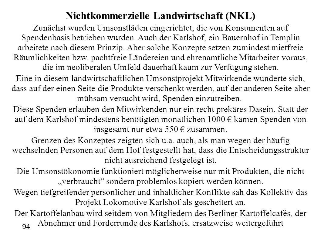 Nichtkommerzielle Landwirtschaft (NKL) Zunächst wurden Umsonstläden eingerichtet, die von Konsumenten auf Spendenbasis betrieben wurden.