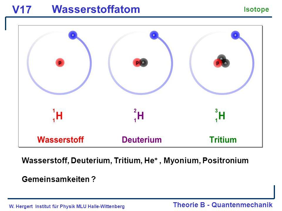 W. Hergert Institut für Physik MLU Halle-Wittenberg Theorie B - Quantenmechanik V17 Wasserstoffatom Isotope Wasserstoff, Deuterium, Tritium, He +, Myo