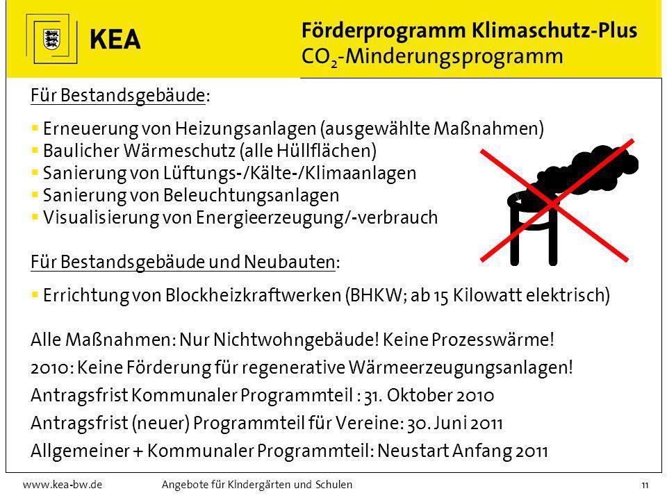 www.kea-bw.deAngebote für Kindergärten und Schulen10 Förderprogramm Klimaschutz-Plus Überblick Struktur-, Qualifizierungs- und Beratungsprogramm Progr