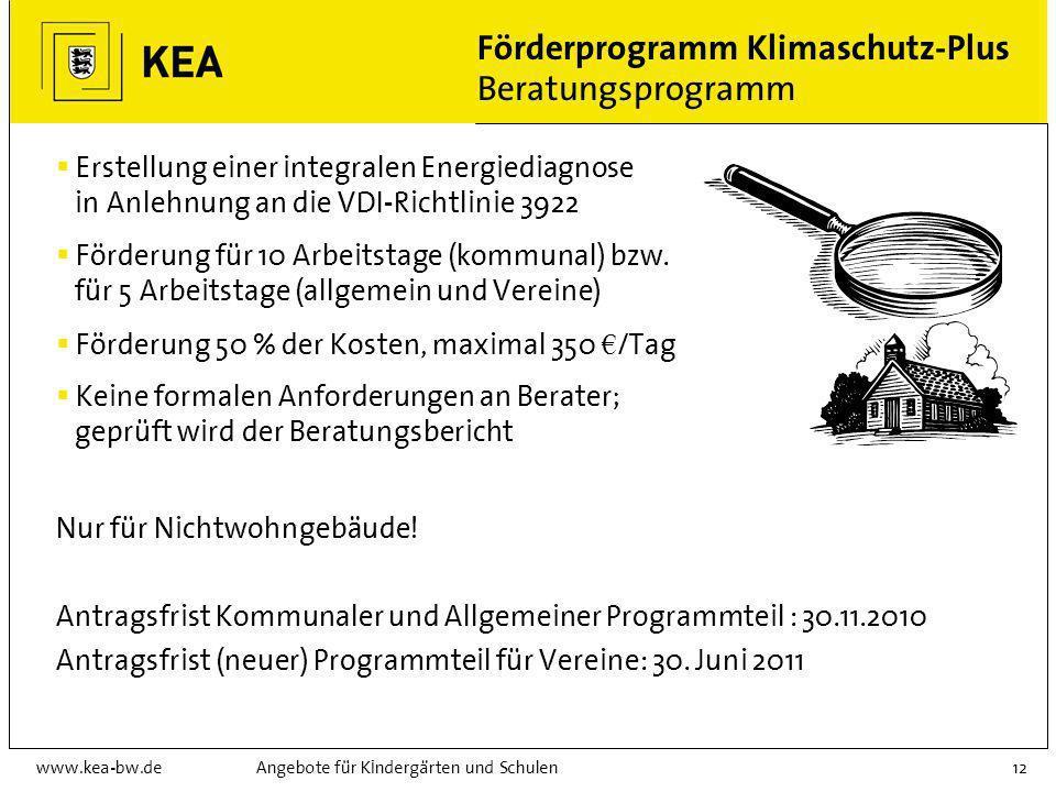 www.kea-bw.deAngebote für Kindergärten und Schulen11 Förderprogramm Klimaschutz-Plus CO 2 -Minderungsprogramm Für Bestandsgebäude: Erneuerung von Heiz