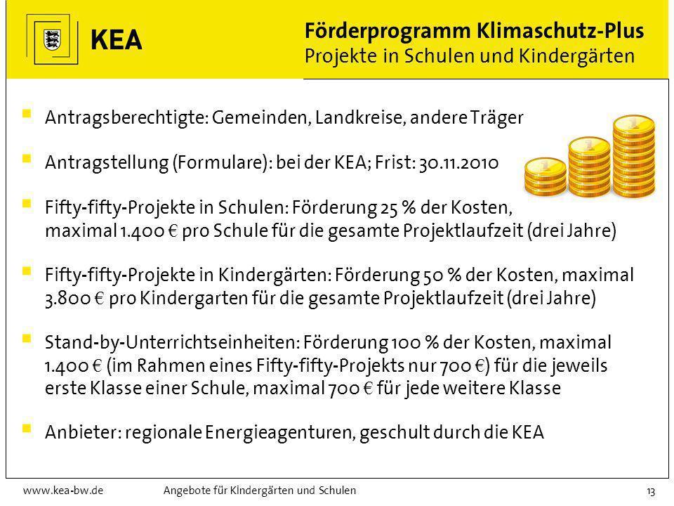 www.kea-bw.deAngebote für Kindergärten und Schulen12 Förderprogramm Klimaschutz-Plus Beratungsprogramm Erstellung einer integralen Energiediagnose in