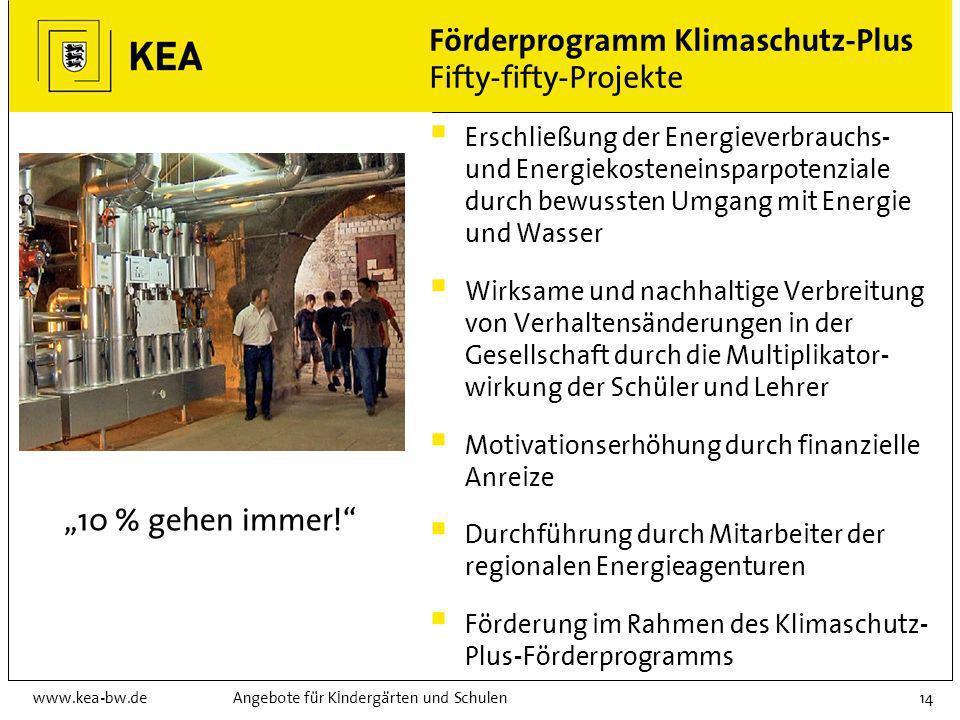 www.kea-bw.deAngebote für Kindergärten und Schulen13 Förderprogramm Klimaschutz-Plus Projekte in Schulen und Kindergärten Antragsberechtigte: Gemeinde