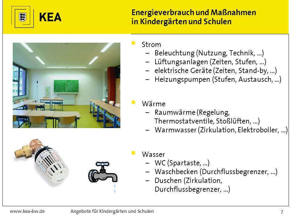 www.kea-bw.deAngebote für Kindergärten und Schulen7 Energieverbrauch und Maßnahmen in Kindergärten und Schulen Strom – Beleuchtung (Nutzung, Technik, …) – Lüftungsanlagen (Zeiten, Stufen, …) – elektrische Geräte (Zeiten, Stand-by, …) – Heizungspumpen (Stufen, Austausch, …) Wärme – Raumwärme (Regelung, Thermostatventile, Stoßlüften, …) – Warmwasser (Zirkulation, Elektroboiler, …) Wasser – WC (Spartaste, …) – Waschbecken (Durchflussbegrenzer, …) – Duschen (Zirkulation, Durchflussbegrenzer, …)