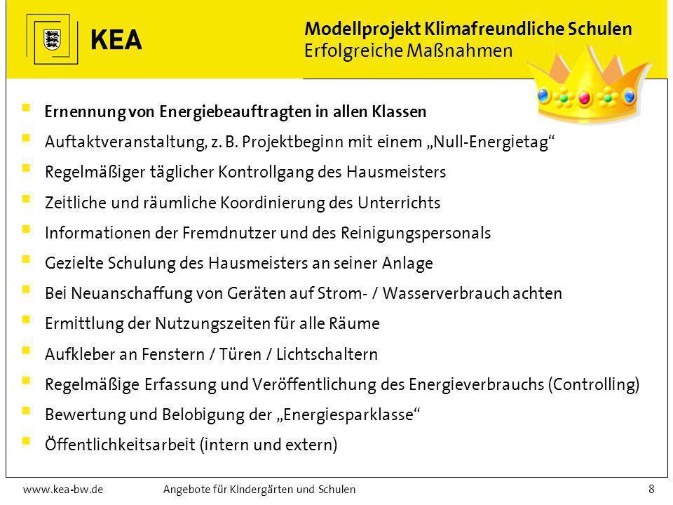 www.kea-bw.deAngebote für Kindergärten und Schulen8 Modellprojekt Klimafreundliche Schulen Erfolgreiche Maßnahmen Ernennung von Energiebeauftragten in allen Klassen Auftaktveranstaltung, z.