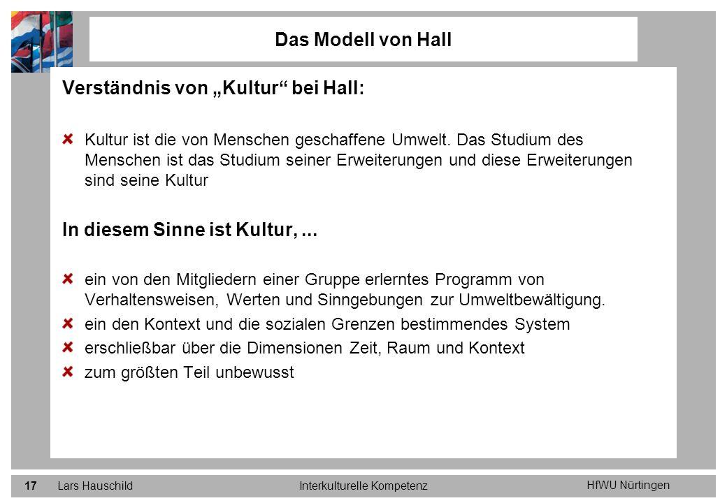 HfWU Nürtingen Lars HauschildInterkulturelle Kompetenz17 Verständnis von Kultur bei Hall: Kultur ist die von Menschen geschaffene Umwelt. Das Studium