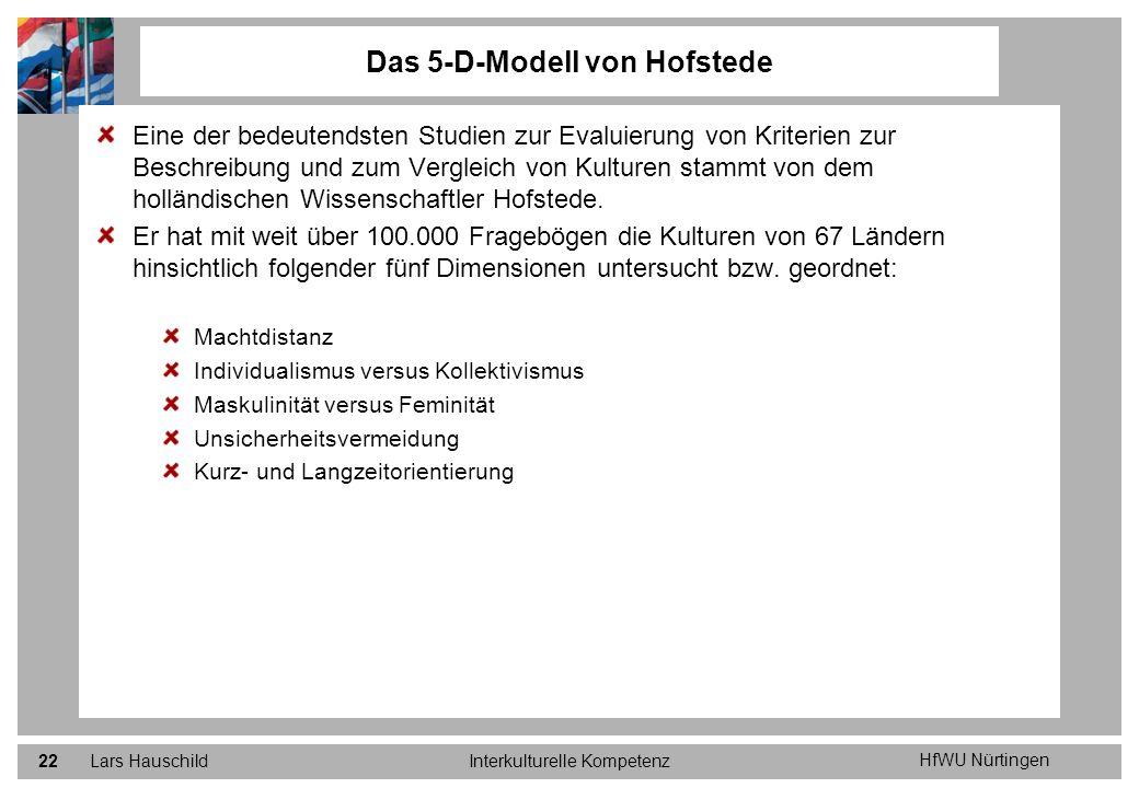 HfWU Nürtingen Lars HauschildInterkulturelle Kompetenz22 Eine der bedeutendsten Studien zur Evaluierung von Kriterien zur Beschreibung und zum Verglei