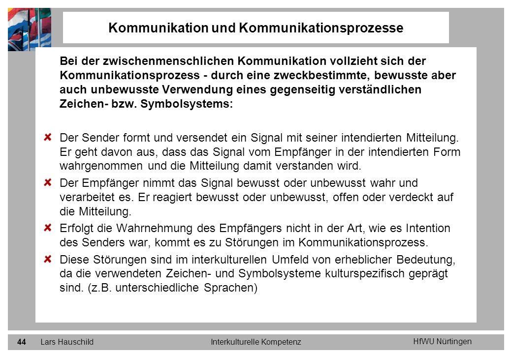 HfWU Nürtingen Lars HauschildInterkulturelle Kompetenz44 Kommunikation und Kommunikationsprozesse Bei der zwischenmenschlichen Kommunikation vollzieht