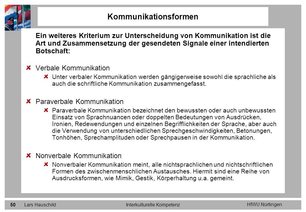 HfWU Nürtingen Lars HauschildInterkulturelle Kompetenz50 Kommunikationsformen Ein weiteres Kriterium zur Unterscheidung von Kommunikation ist die Art