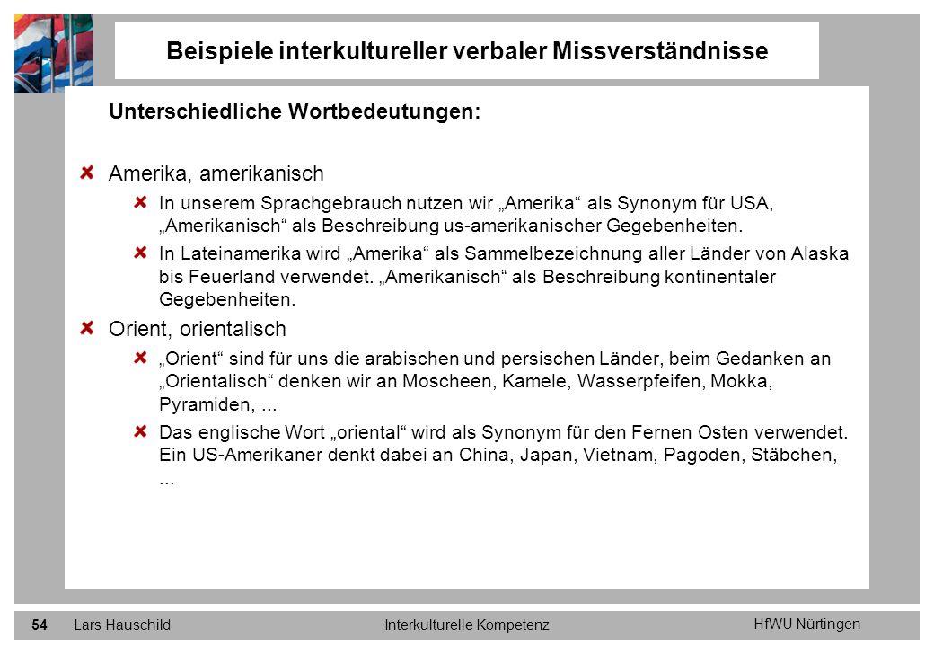 HfWU Nürtingen Lars HauschildInterkulturelle Kompetenz54 Beispiele interkultureller verbaler Missverständnisse Unterschiedliche Wortbedeutungen: Ameri