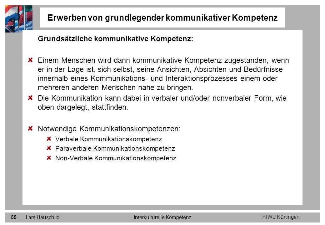 HfWU Nürtingen Lars HauschildInterkulturelle Kompetenz55 Erwerben von grundlegender kommunikativer Kompetenz Grundsätzliche kommunikative Kompetenz: E
