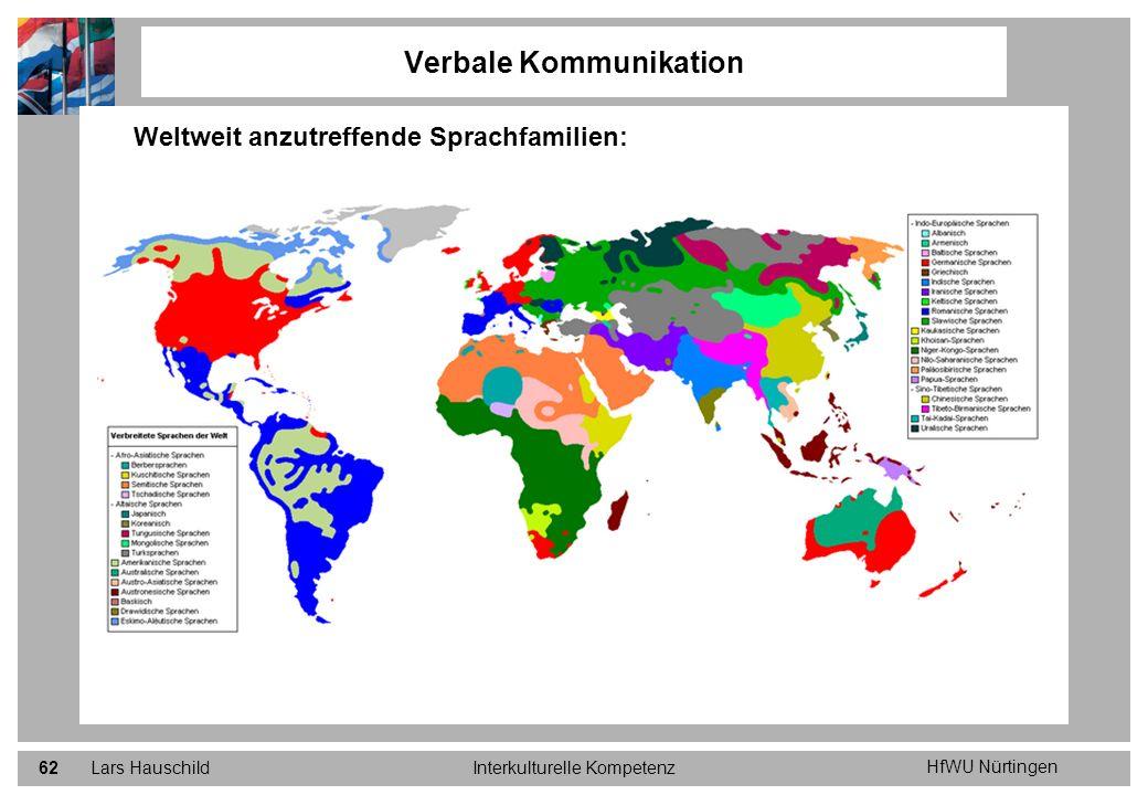 HfWU Nürtingen Lars HauschildInterkulturelle Kompetenz62 Verbale Kommunikation Weltweit anzutreffende Sprachfamilien: