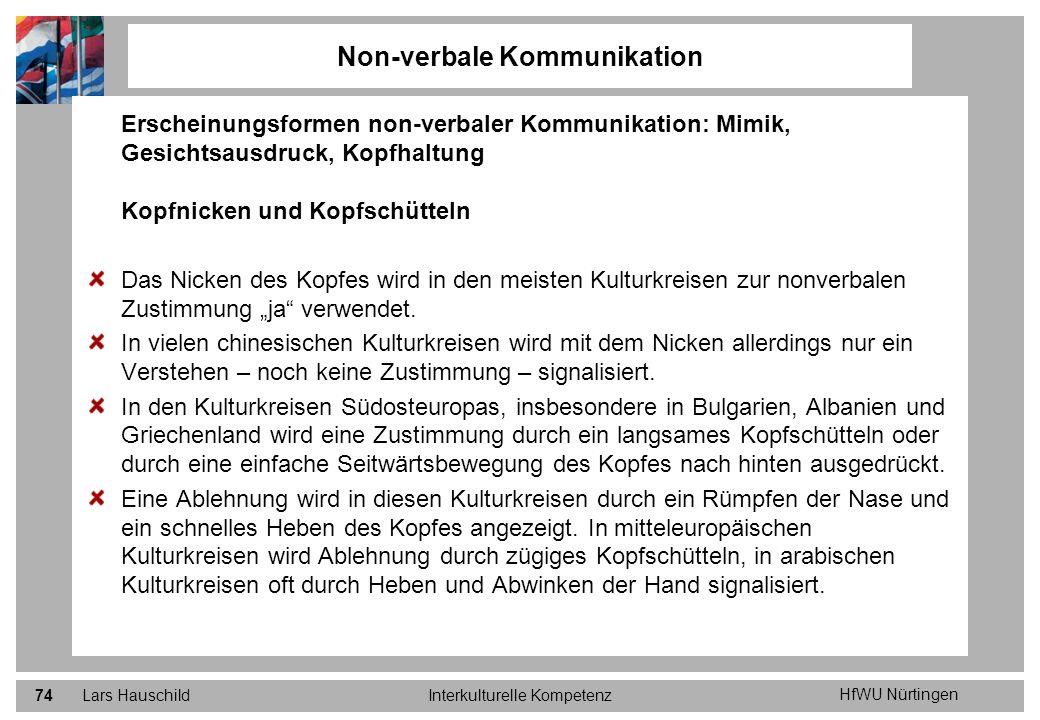 HfWU Nürtingen Lars HauschildInterkulturelle Kompetenz74 Non-verbale Kommunikation Erscheinungsformen non-verbaler Kommunikation: Mimik, Gesichtsausdr
