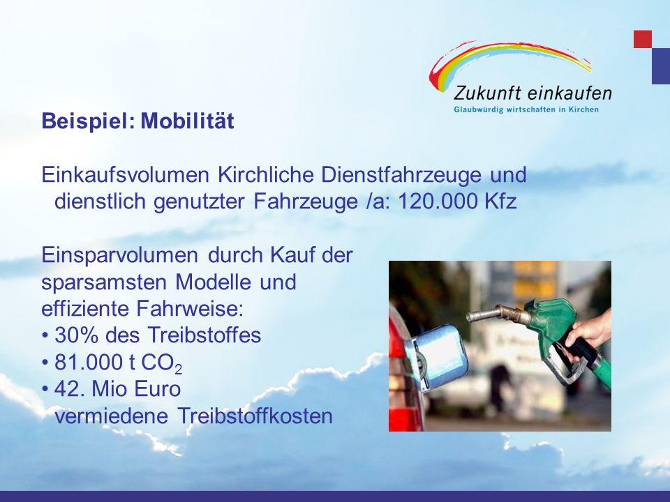 Beispiel: Mobilität Einkaufsvolumen Kirchliche Dienstfahrzeuge und dienstlich genutzter Fahrzeuge /a: 120.000 Kfz Einsparvolumen durch Kauf der sparsa
