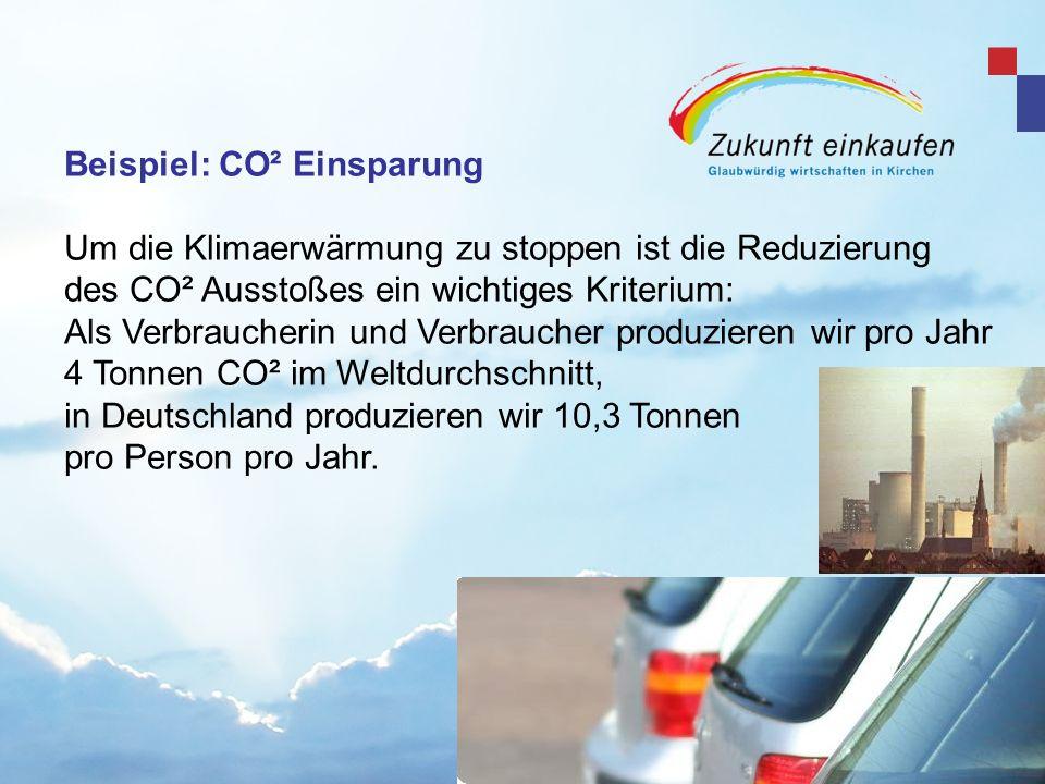 Beispiel: CO² Einsparung Um die Klimaerwärmung zu stoppen ist die Reduzierung des CO² Ausstoßes ein wichtiges Kriterium: Als Verbraucherin und Verbrau