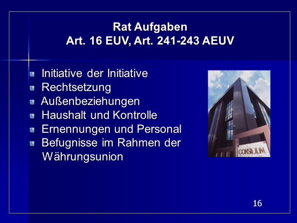 16 Rat Aufgaben Art. 16 EUV, Art. 241-243 AEUV Initiative der Initiative Rechtsetzung Rechtsetzung Außenbeziehungen Außenbeziehungen Haushalt und Kont