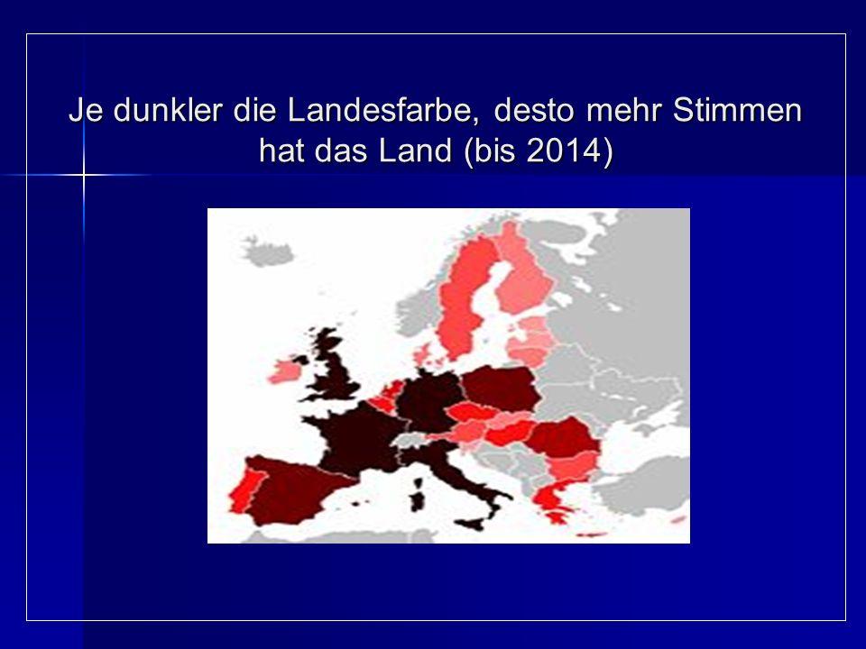 Je dunkler die Landesfarbe, desto mehr Stimmen hat das Land (bis 2014) Je dunkler die Landesfarbe, desto mehr Stimmen hat das Land (bis 2014)