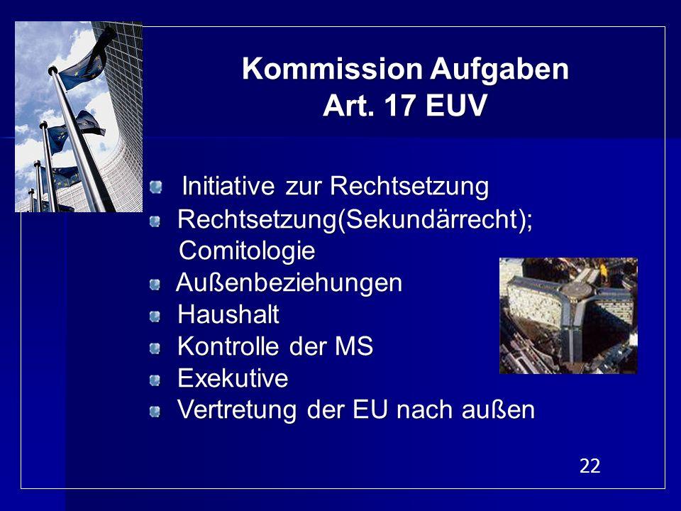 22 Kommission Aufgaben Art. 17 EUV Initiative zur Rechtsetzung Rechtsetzung(Sekundärrecht); Rechtsetzung(Sekundärrecht); Comitologie Comitologie Außen