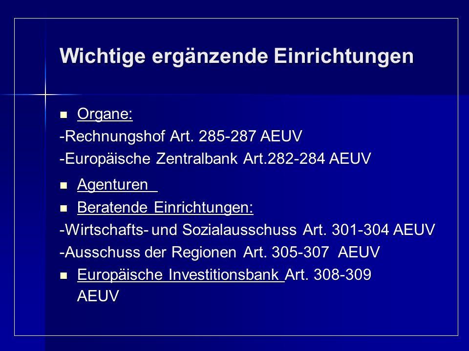 Wichtige ergänzende Einrichtungen Organe: Organe: -Rechnungshof Art. 285-287 AEUV -Europäische Zentralbank Art.282-284 AEUV Agenturen Agenturen Berate
