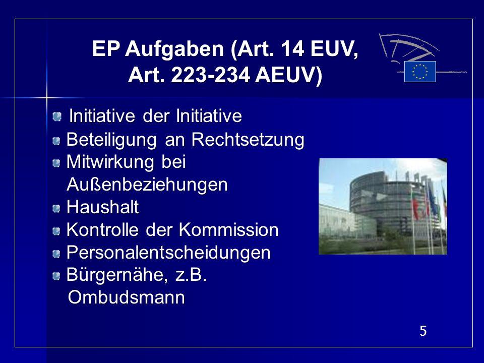 5 EP Aufgaben (Art. 14 EUV, Art. 223-234 AEUV) Initiative der Initiative Beteiligung an Rechtsetzung Beteiligung an Rechtsetzung Mitwirkung bei Mitwir