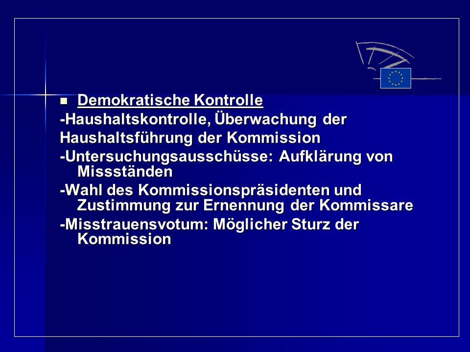 Demokratische Kontrolle Demokratische Kontrolle -Haushaltskontrolle, Überwachung der Haushaltsführung der Kommission -Untersuchungsausschüsse: Aufklär