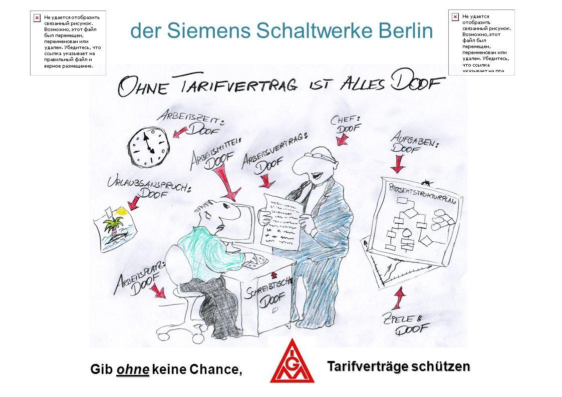 der Siemens Schaltwerke Berlin ohne Gib ohne keine Chance, Tarifverträge schützen