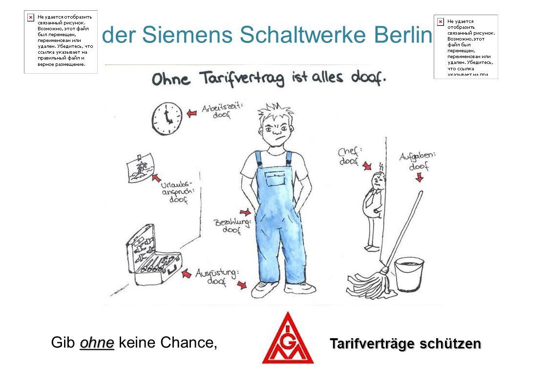 ohne Gib ohne keine Chance, Tarifverträge schützen der Siemens Schaltwerke Berlin