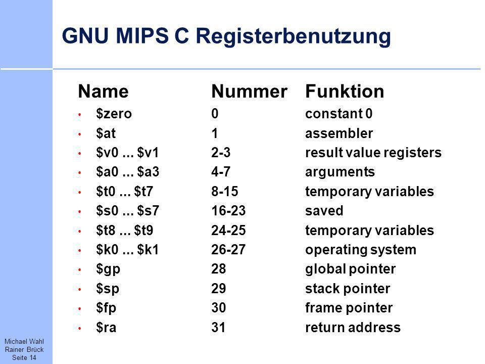 Michael Wahl Rainer Brück Seite 14 GNU MIPS C Registerbenutzung NameNummerFunktion $zero0constant 0 $at1assembler $v0... $v12-3result value registers