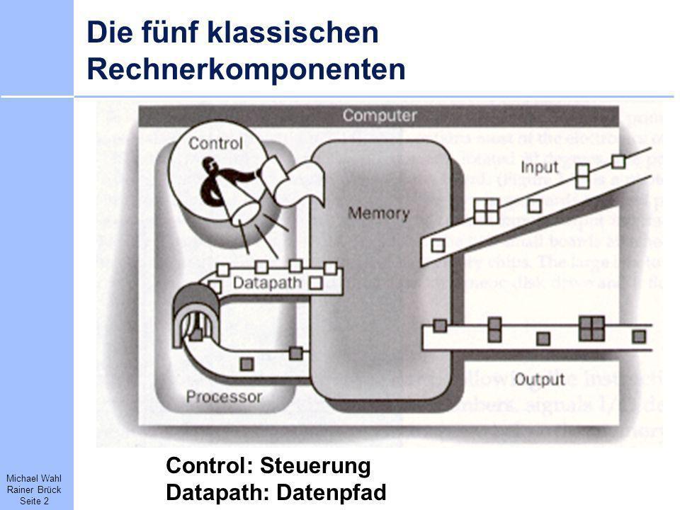 Michael Wahl Rainer Brück Seite 2 Die fünf klassischen Rechnerkomponenten Control: Steuerung Datapath: Datenpfad