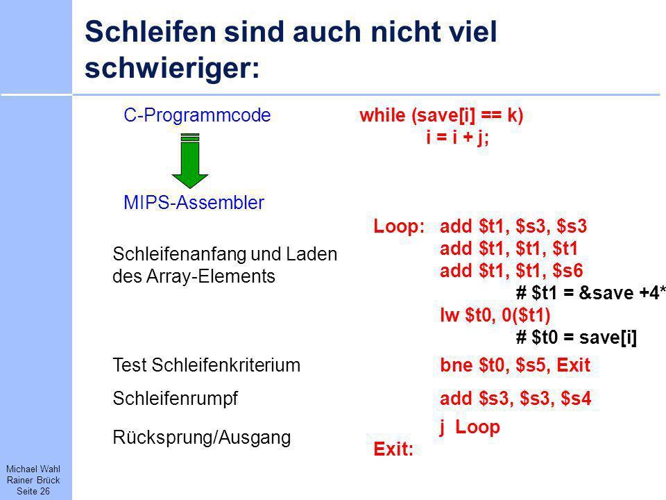 Michael Wahl Rainer Brück Seite 26 Schleifen sind auch nicht viel schwieriger: C-Programmcodewhile (save[i] == k) i = i + j; MIPS-Assembler Loop:add $