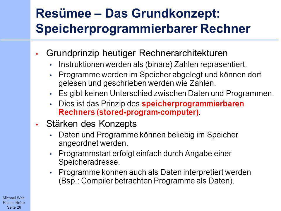 Michael Wahl Rainer Brück Seite 28 Resümee – Das Grundkonzept: Speicherprogrammierbarer Rechner Grundprinzip heutiger Rechnerarchitekturen Instruktion
