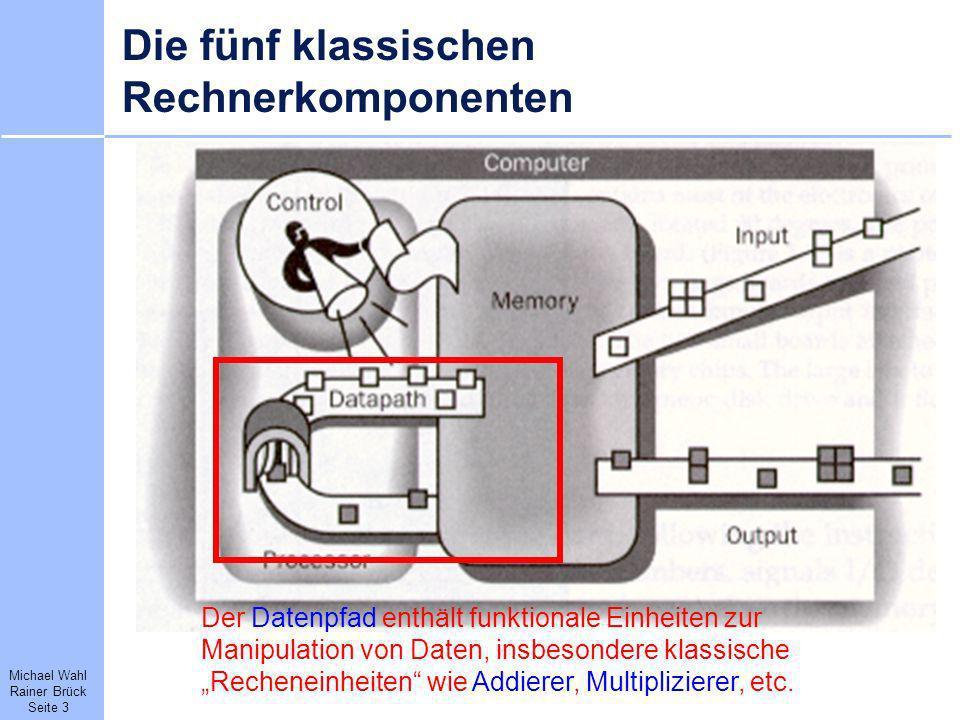 Michael Wahl Rainer Brück Seite 3 Die fünf klassischen Rechnerkomponenten Der Datenpfad enthält funktionale Einheiten zur Manipulation von Daten, insb