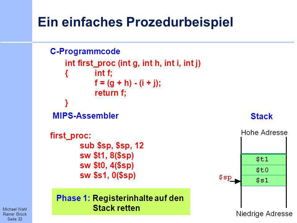 Michael Wahl Rainer Brück Seite 32 Ein einfaches Prozedurbeispiel C-Programmcode int first_proc (int g, int h, int i, int j) {int f; f = (g + h) - (i