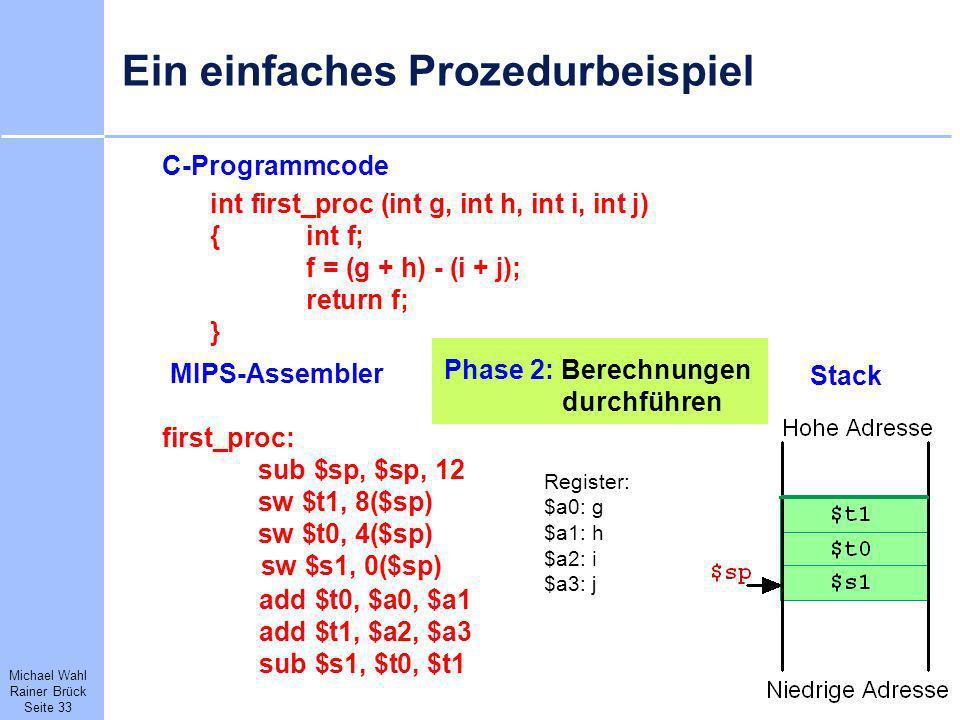 Michael Wahl Rainer Brück Seite 33 Ein einfaches Prozedurbeispiel C-Programmcode int first_proc (int g, int h, int i, int j) {int f; f = (g + h) - (i