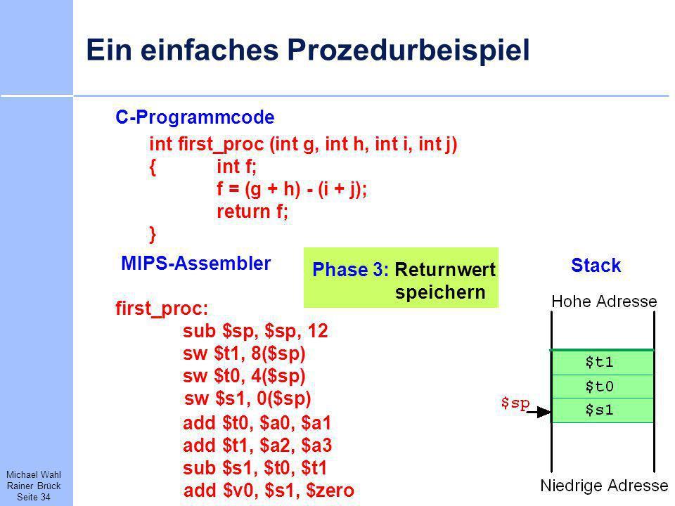 Michael Wahl Rainer Brück Seite 34 Ein einfaches Prozedurbeispiel C-Programmcode int first_proc (int g, int h, int i, int j) {int f; f = (g + h) - (i