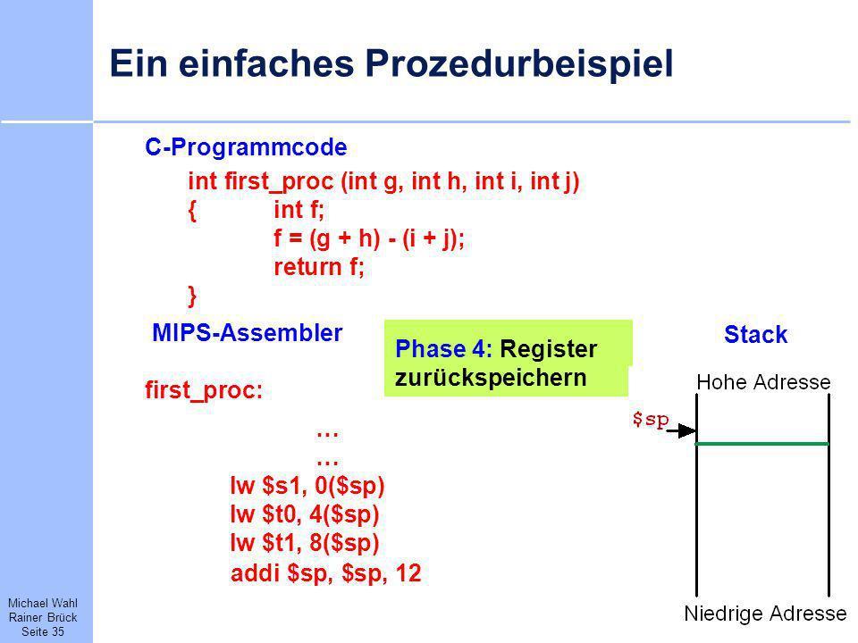 Michael Wahl Rainer Brück Seite 35 Ein einfaches Prozedurbeispiel C-Programmcode int first_proc (int g, int h, int i, int j) {int f; f = (g + h) - (i