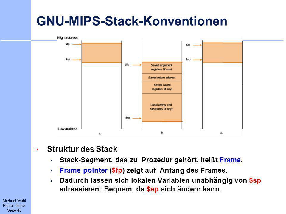 Michael Wahl Rainer Brück Seite 40 GNU-MIPS-Stack-Konventionen Struktur des Stack Stack-Segment, das zu Prozedur gehört, heißt Frame. Frame pointer ($
