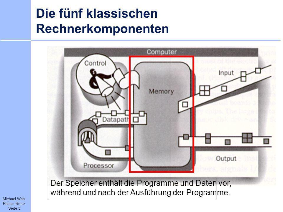 Michael Wahl Rainer Brück Seite 5 Die fünf klassischen Rechnerkomponenten Der Speicher enthält die Programme und Daten vor, während und nach der Ausfü