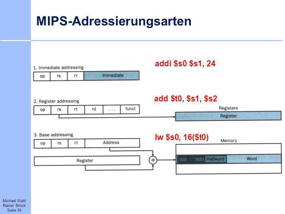 Michael Wahl Rainer Brück Seite 50 MIPS-Adressierungsarten addi $s0 $s1, 24 add $t0, $s1, $s2 lw $s0, 16($t0)