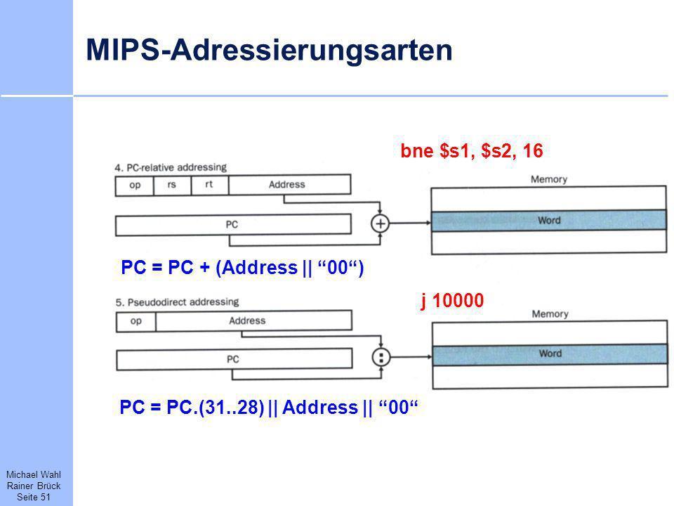 Michael Wahl Rainer Brück Seite 51 MIPS-Adressierungsarten bne $s1, $s2, 16 PC = PC + (Address || 00) j 10000 PC = PC.(31..28) || Address || 00