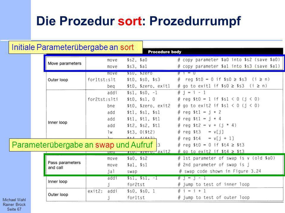 Michael Wahl Rainer Brück Seite 67 Die Prozedur sort: Prozedurrumpf Parameterübergabe an swap und AufrufInitiale Parameterübergabe an sort
