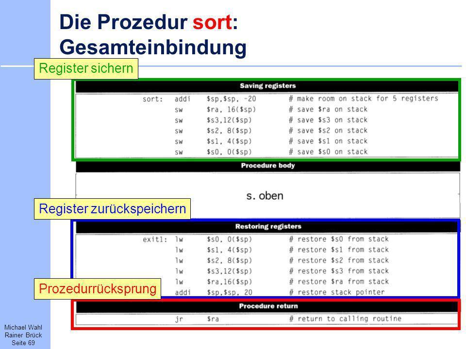 Michael Wahl Rainer Brück Seite 69 Die Prozedur sort: Gesamteinbindung Register sichernRegister zurückspeichernProzedurrücksprung