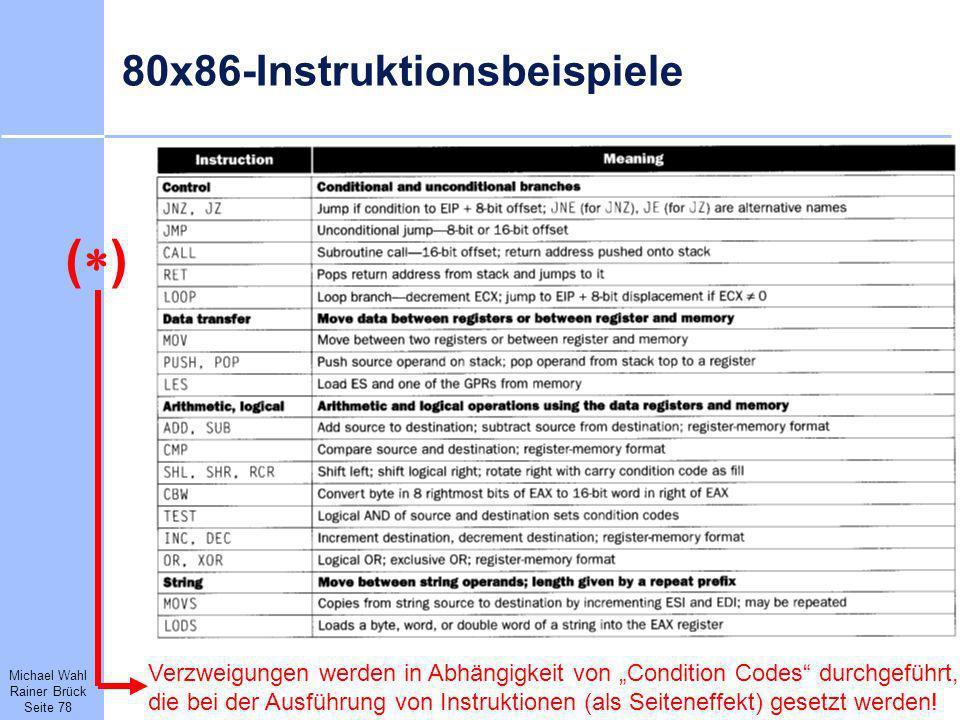 Michael Wahl Rainer Brück Seite 78 80x86-Instruktionsbeispiele Verzweigungen werden in Abhängigkeit von Condition Codes durchgeführt, die bei der Ausf