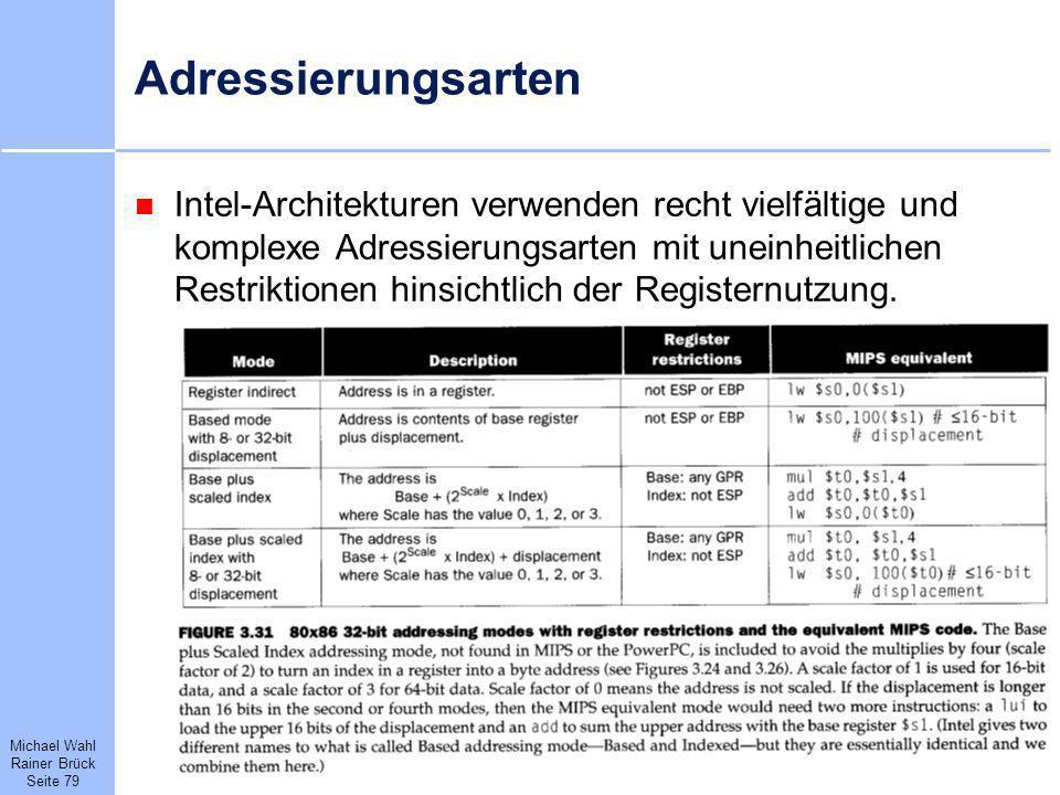 Michael Wahl Rainer Brück Seite 79 Adressierungsarten Intel-Architekturen verwenden recht vielfältige und komplexe Adressierungsarten mit uneinheitlic