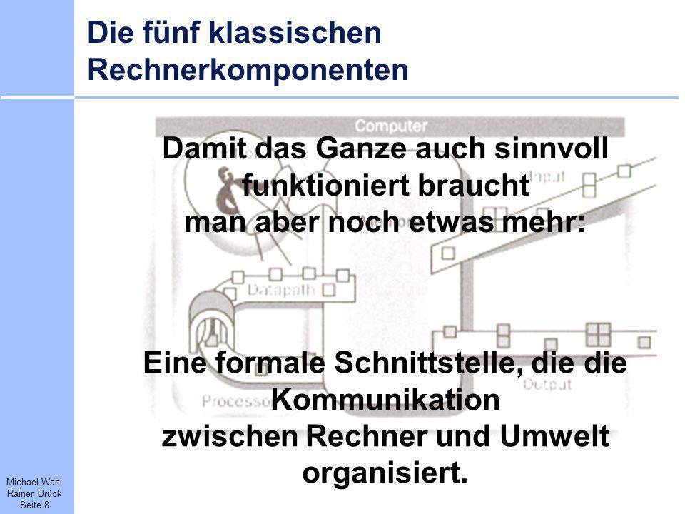 Michael Wahl Rainer Brück Seite 8 Die fünf klassischen Rechnerkomponenten Damit das Ganze auch sinnvoll funktioniert braucht man aber noch etwas mehr: