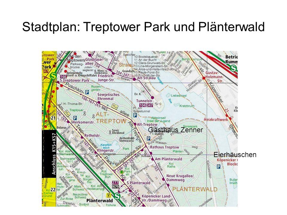 Stadtplan: Treptower Park und Plänterwald Eierhäuschen Gasthaus Zenner