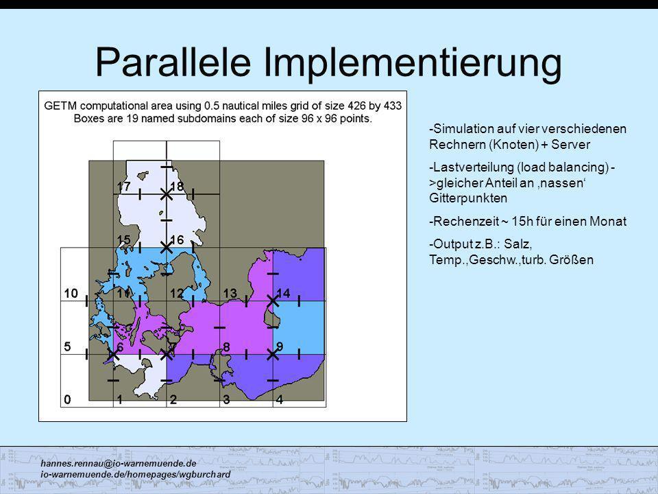 hannes.rennau@io-warnemuende.de io-warnemuende.de/homepages/wgburchard Parallele Implementierung -Simulation auf vier verschiedenen Rechnern (Knoten)