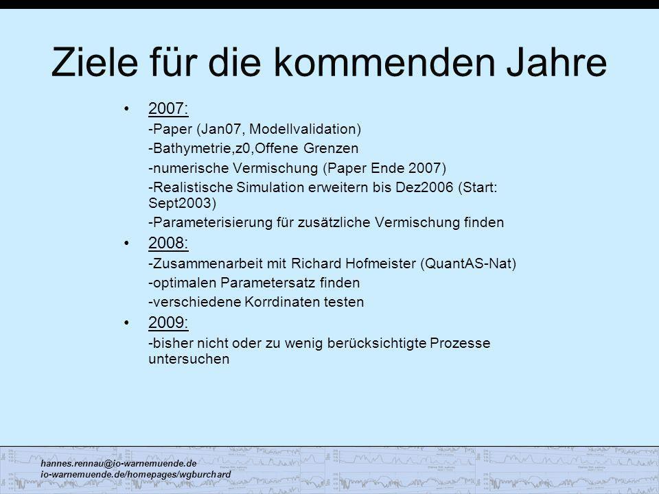 hannes.rennau@io-warnemuende.de io-warnemuende.de/homepages/wgburchard Ziele für die kommenden Jahre 2007: -Paper (Jan07, Modellvalidation) -Bathymetr