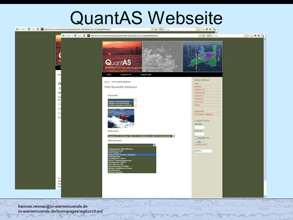 hannes.rennau@io-warnemuende.de io-warnemuende.de/homepages/wgburchard QuantAS Webseite