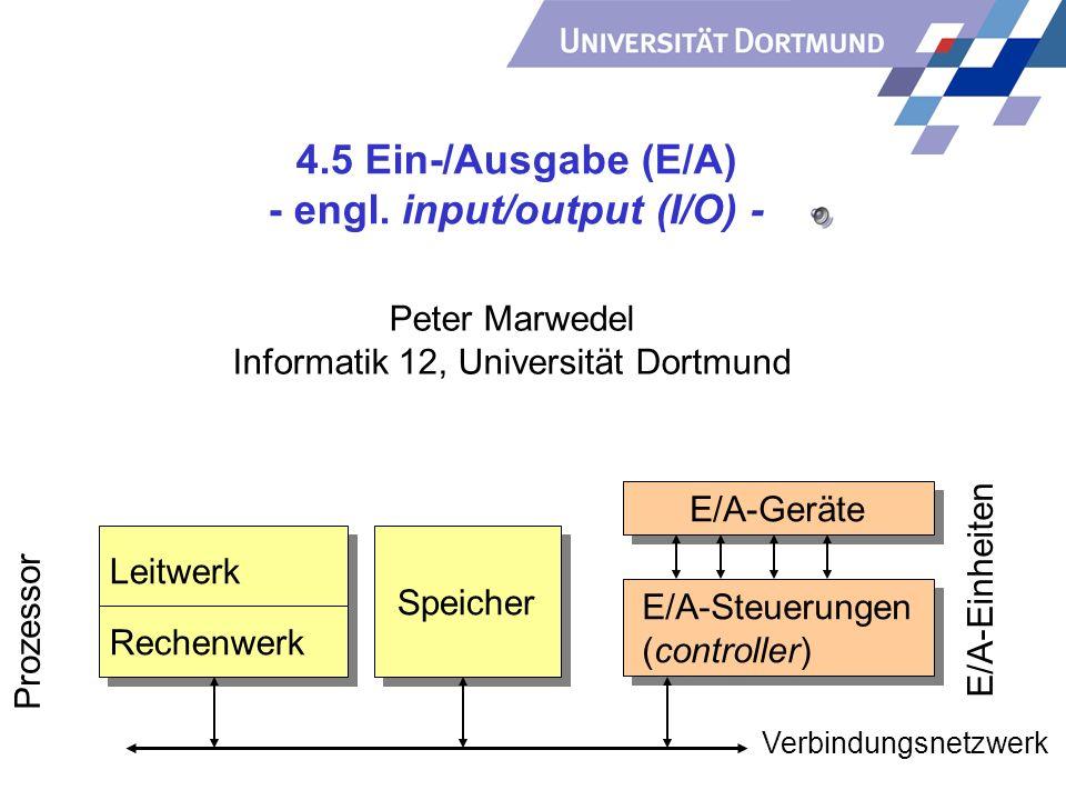 4.5 Ein-/Ausgabe (E/A) - engl. input/output (I/O) - Peter Marwedel Informatik 12, Universität Dortmund Speicher E/A-Einheiten E/A-Geräte E/A-Steuerung
