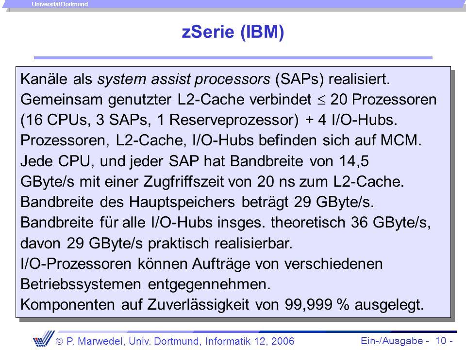 Ein-/Ausgabe - 10 - P. Marwedel, Univ. Dortmund, Informatik 12, 2006 Universität Dortmund zSerie (IBM) Kanäle als system assist processors (SAPs) real